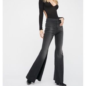 Free People High Waisted Black Flare Jeans